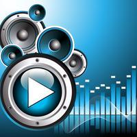ilustração vetorial para tema musical com botão play e alto-falantes vetor