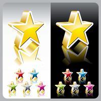 Conjunto de botão estrela de cor brilhante vector