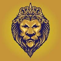 Leão rei ouro vintage com coroa de ornamento vetor