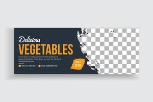 deliciosa venda de vegetais na mídia social cronograma do design da capa vetor