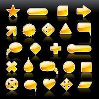 Coleção de formas brilhantes da web, amarelo brilhante vetor