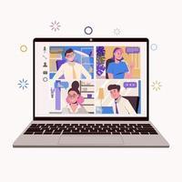 trabalho em casa, freelance, trabalho remoto em equipe. bate-papo online vetor