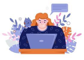 freelancer de garota trabalha em um laptop. trabalhar em casa com animais de estimação. vetor