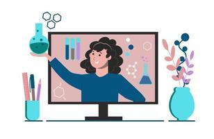 educação à distância para crianças em idade escolar. educação em casa online vetor