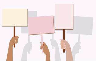 uma multidão de pessoas protestando. demonstração, protesto. bandeira vetor