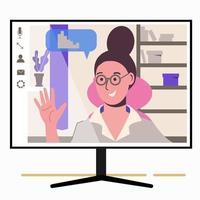conversando online. garota na tela do monitor. trabalho em casa, freelance, vetor