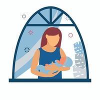 maternidade. mulher com um bebê nos braços perto da janela. amamentação vetor