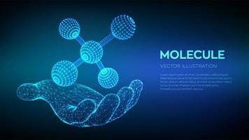molécula na mão. DNA, átomo, neurônios. vetor