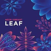 ilustração da folha da planta em cores gradientes roxas vibrantes vetor