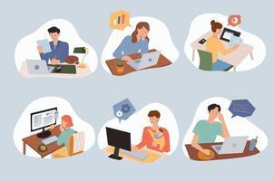 pessoas que trabalham em casa usando computadores em suas mesas. vetor
