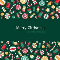 fundo de feliz natal. coleção de doces e balas de Natal. vetor