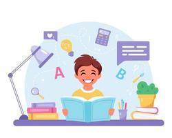 menino lendo livro. menino fazendo lição de casa. de volta à escola vetor