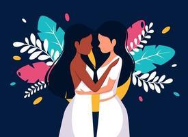 conceito LGBT. casamento lésbico. casal de lésbicas. vetor