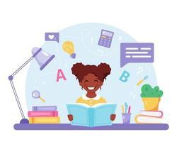livro de leitura de menina negra. garota fazendo lição de casa. de volta à escola vetor