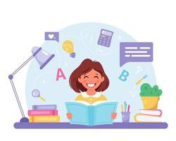 livro de leitura de menina. garota fazendo lição de casa. de volta à escola vetor
