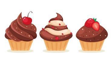 cupcakes de chocolate com cereja, morango, groselha vetor