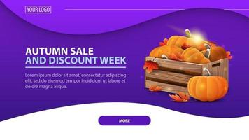 venda de outono e semana de desconto, banner com caixas de abóboras maduras vetor