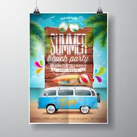 Design de panfleto de festa de praia verão com van de viagem e prancha de surf