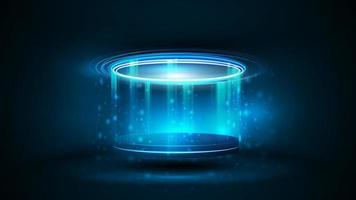 pódio de holograma digital azul em forma cilíndrica com anéis brilhantes vetor