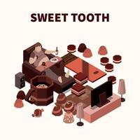 ilustração em vetor dente doce ilustração isomérica