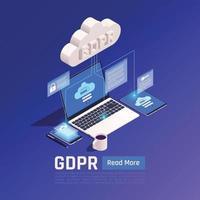 ilustração em vetor fundo gdpr de dados de privacidade