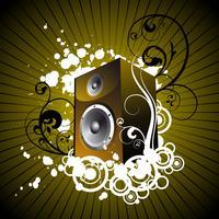 ilustração de música com alto-falante vetor