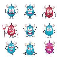 ilustração vetorial conjunto de monstros com chifres de desenho animado vetor