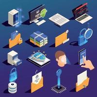 ilustração vetorial conjunto de ícones de proteção de dados vetor