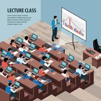 professores palestram ilustração vetorial de fundo isométrico vetor