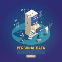 ilustração vetorial de fundo de proteção de dados pessoais vetor