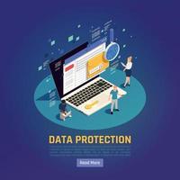 ilustração vetorial de fundo de proteção de dados de laptop vetor