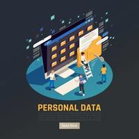 ilustração isométrica do vetor do fundo dos dados pessoais