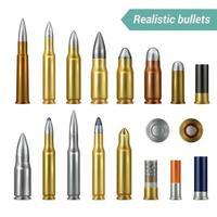 balas e cartuchos ilustração vetorial conjunto realista vetor