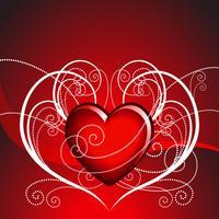 ilustração do dia dos namorados com lareira linda em fundo vermelho vetor