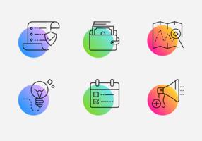 Pacote de ícones de linha gradiente minimalista