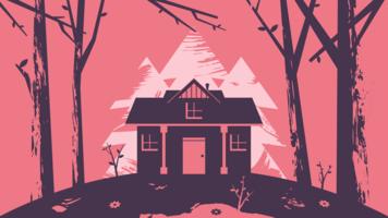 Casa de manhã abstrata Primavera na floresta ilustração vetor