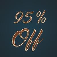 Conjunto de porcentagem de couro realista, ilustração vetorial