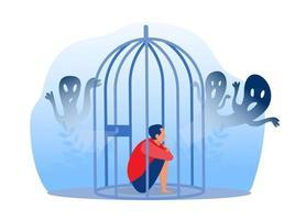 menino deprimido na prisão com ansiedade vetor
