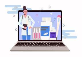 médica na tela do laptop. on-line vetor