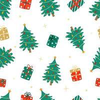 árvores de natal decoradas e presentes padrão de vetor de repetição perfeita