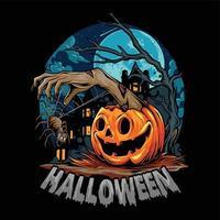 Halloween com abóbora distribuindo mãos de zumbi com aranha assustadora vetor