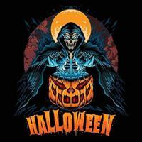 Halloween com abóbora e ceifador ceifador parece tão legal vetor