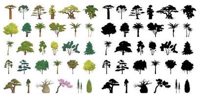 silhuetas negras seth e árvores realistas vetor
