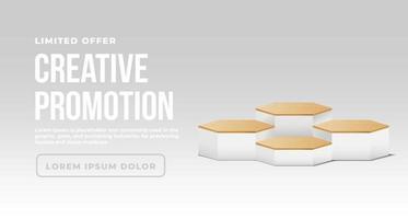 banner minimalista com pódio de madeira vetor