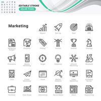 conjunto de ícones de linha fina de marketing. ícones perfeitos de pixel. vetor