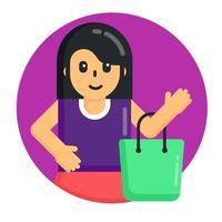 garota de compras com bolsa vetor