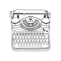 mão desenhada vetor máquina de escrever vintage