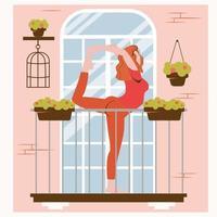 ficar em casa. ioga online na varanda. esportes e treinamento vetor