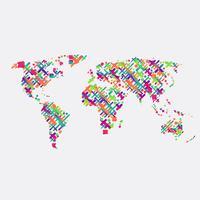 Mapa do mundo branco feito por bolas, ilustração vetorial vetor