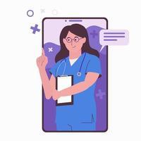 consulta médica online. cuidados de saúde. médico online vetor